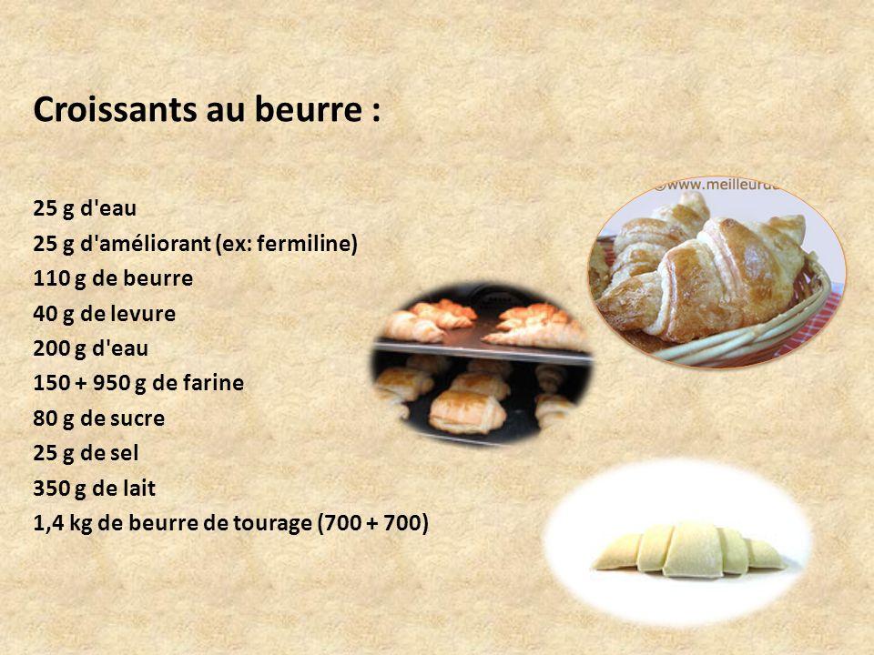 Croissants au beurre : 25 g d'eau 25 g d'améliorant (ex: fermiline) 110 g de beurre 40 g de levure 200 g d'eau 150 + 950 g de farine 80 g de sucre 25