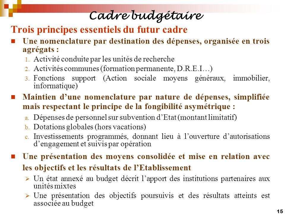 15 Trois principes essentiels du futur cadre Une nomenclature par destination des dépenses, organisée en trois agrégats : 1. Activité conduite par les