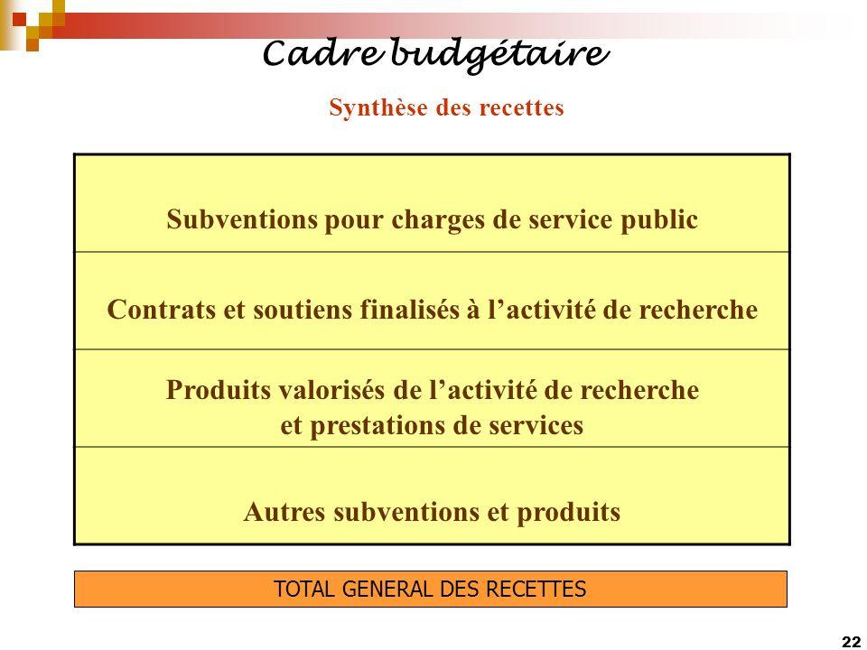 22 Cadre budgétaire Subventions pour charges de service public Contrats et soutiens finalisés à lactivité de recherche Produits valorisés de lactivité