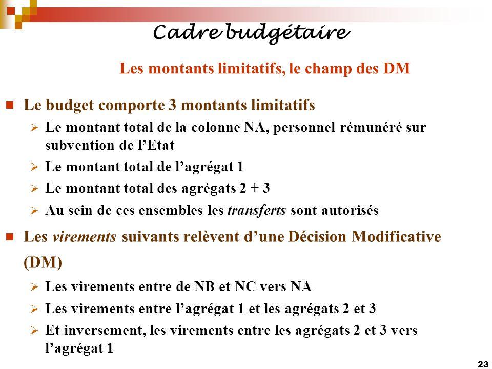 23 Cadre budgétaire Le budget comporte 3 montants limitatifs Le montant total de la colonne NA, personnel rémunéré sur subvention de lEtat Le montant