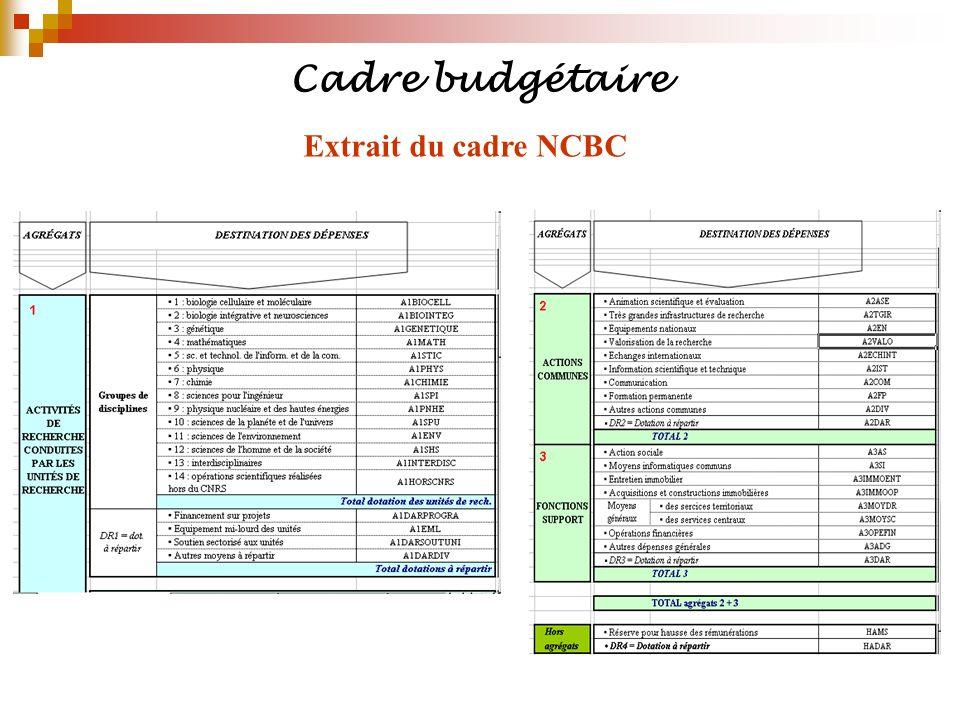 Cadre budgétaire Extrait du cadre NCBC