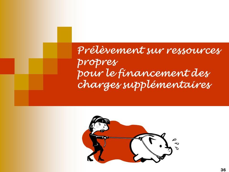 36 Prélèvement sur ressources propres pour le financement des charges supplémentaires
