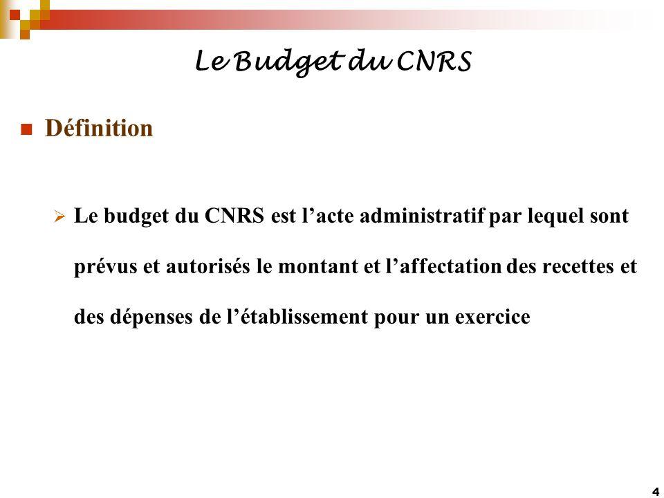 4 Le Budget du CNRS Définition Le budget du CNRS est lacte administratif par lequel sont prévus et autorisés le montant et laffectation des recettes e