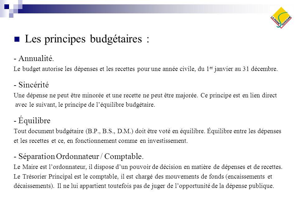 Les principes budgétaires : - Annualité. Le budget autorise les dépenses et les recettes pour une année civile, du 1 er janvier au 31 décembre. - Sinc