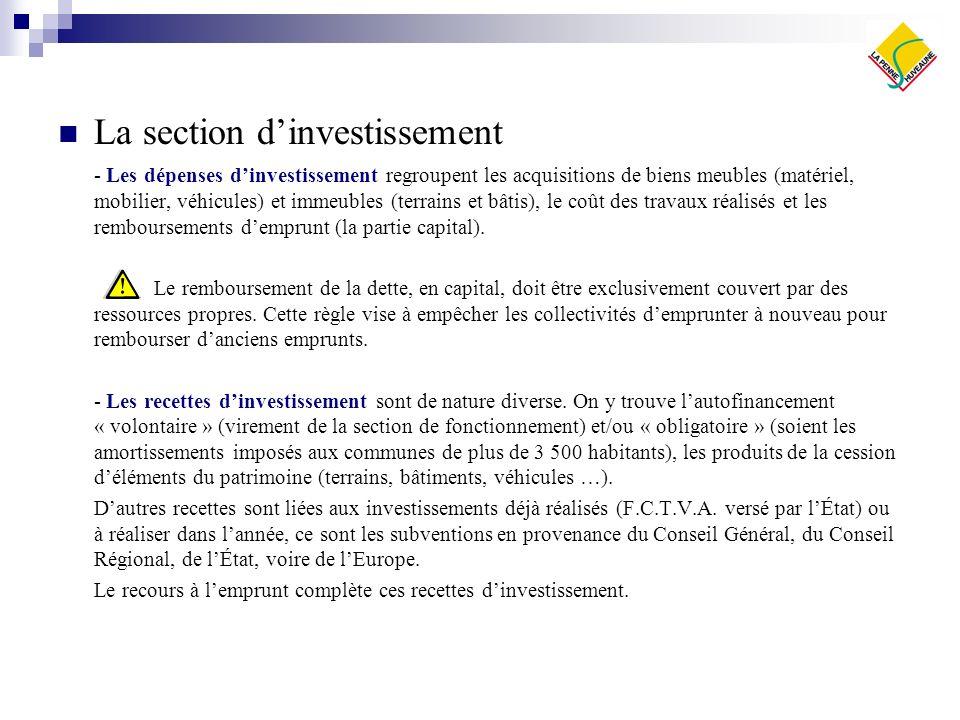 La section dinvestissement - Les dépenses dinvestissement regroupent les acquisitions de biens meubles (matériel, mobilier, véhicules) et immeubles (t