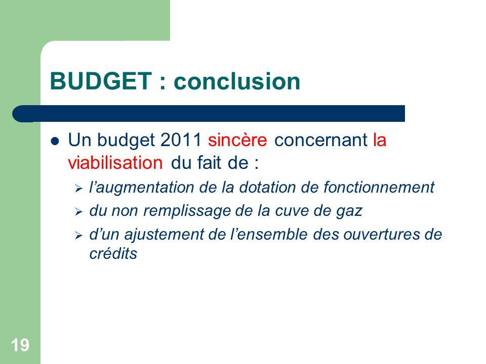 19 BUDGET : conclusion Un budget 2011 sincère concernant la viabilisation du fait de : laugmentation de la dotation de fonctionnement du non remplissa