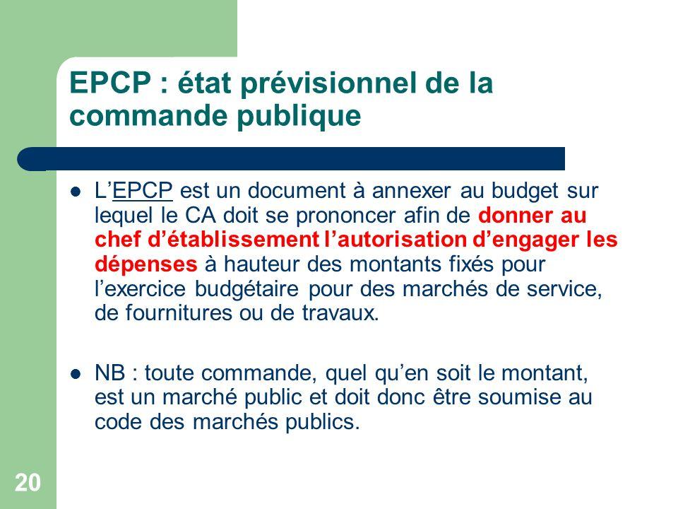 20 EPCP : état prévisionnel de la commande publique LEPCP est un document à annexer au budget sur lequel le CA doit se prononcer afin de donner au che