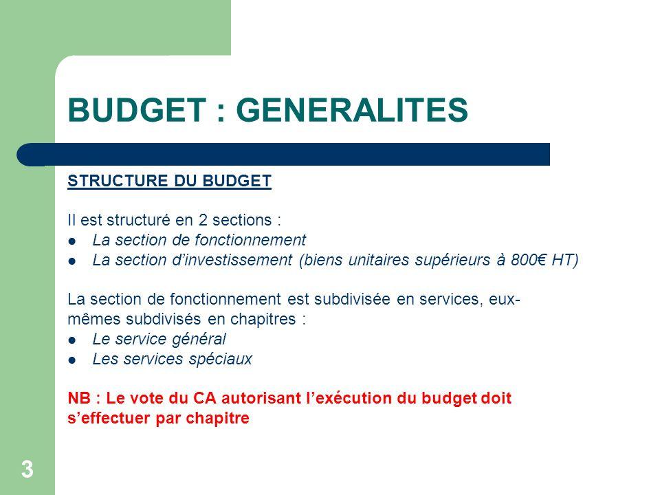3 BUDGET : GENERALITES STRUCTURE DU BUDGET Il est structuré en 2 sections : La section de fonctionnement La section dinvestissement (biens unitaires s