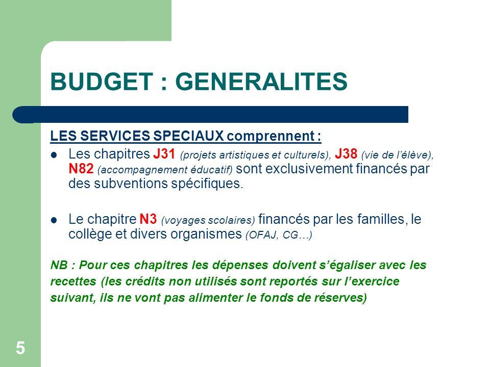 5 BUDGET : GENERALITES LES SERVICES SPECIAUX comprennent : Les chapitres J31 (projets artistiques et culturels), J38 (vie de lélève), N82 (accompagnem