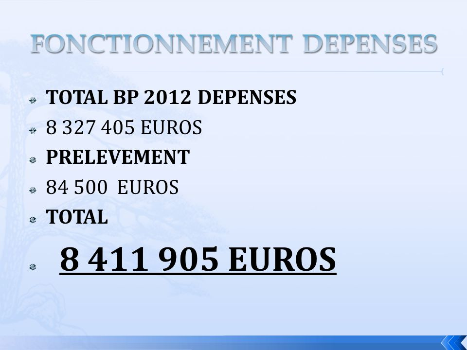 TOTAL BP 2012 DEPENSES 8 327 405 EUROS PRELEVEMENT 84 500 EUROS TOTAL 8 411 905 EUROS