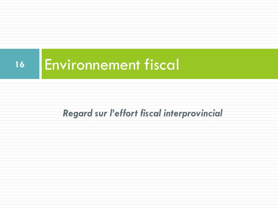 Environnement fiscal 16 Regard sur leffort fiscal interprovincial