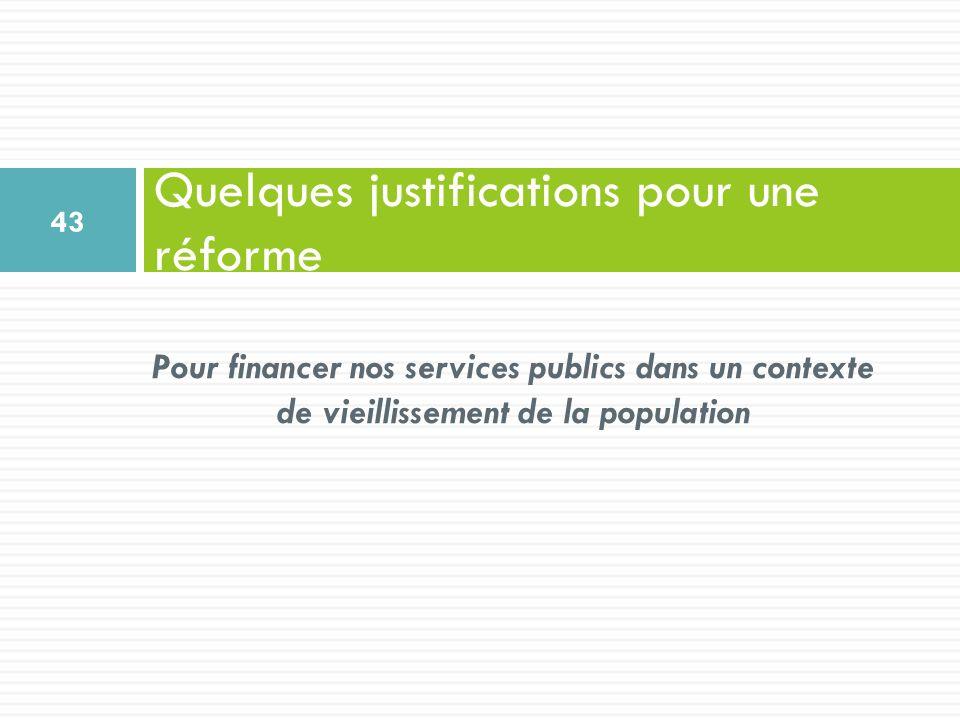 Pour financer nos services publics dans un contexte de vieillissement de la population Quelques justifications pour une réforme 43