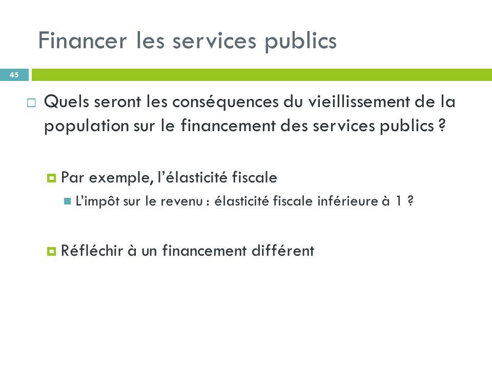 Financer les services publics 45 Quels seront les conséquences du vieillissement de la population sur le financement des services publics .