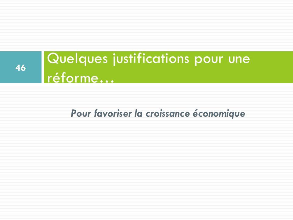 Pour favoriser la croissance économique Quelques justifications pour une réforme… 46