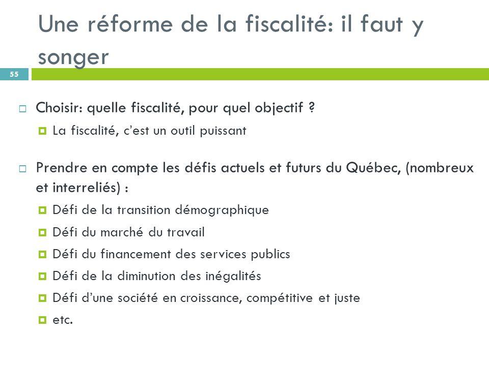 Une réforme de la fiscalité: il faut y songer 55 Choisir: quelle fiscalité, pour quel objectif .