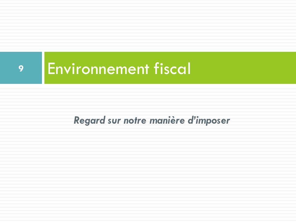 Environnement fiscal 9 Regard sur notre manière dimposer
