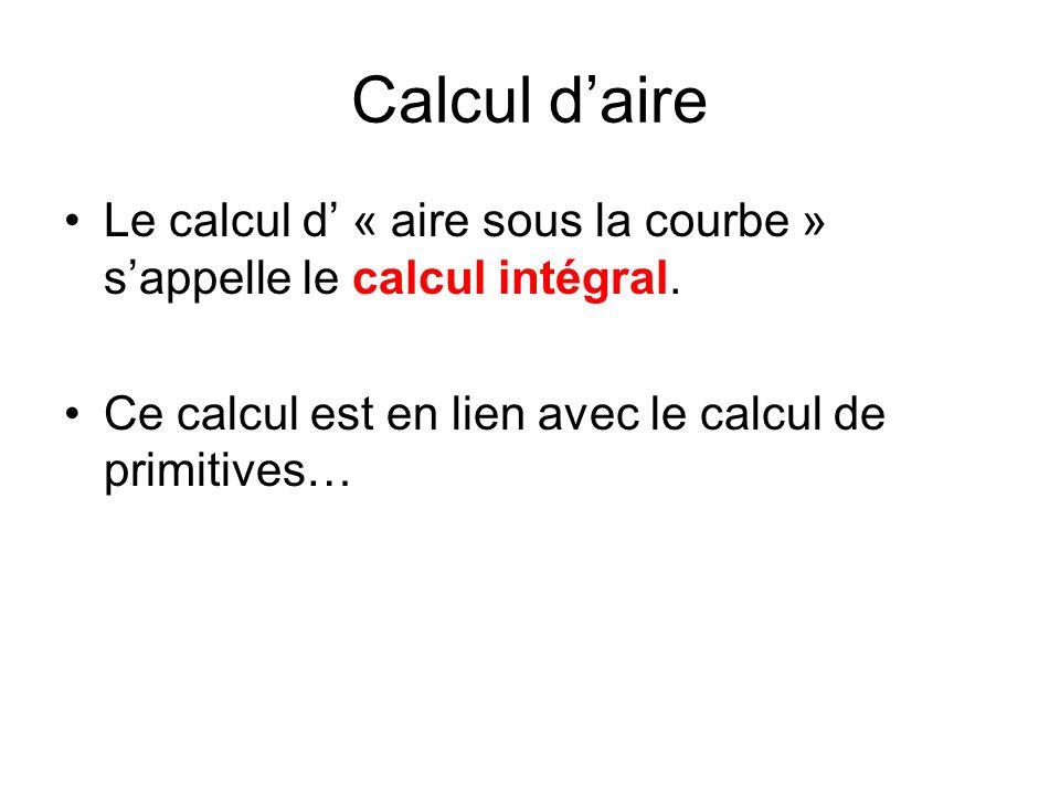 Calcul daire Le calcul d « aire sous la courbe » sappelle le calcul intégral.