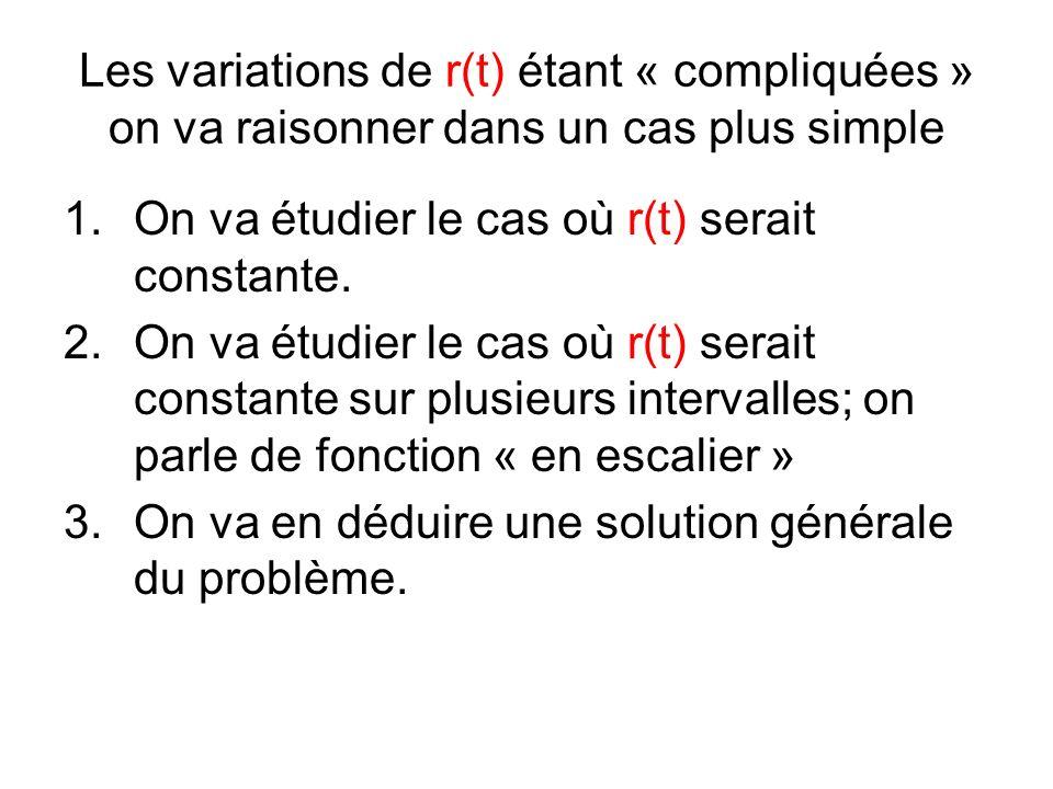 Les variations de r(t) étant « compliquées » on va raisonner dans un cas plus simple 1.On va étudier le cas où r(t) serait constante.