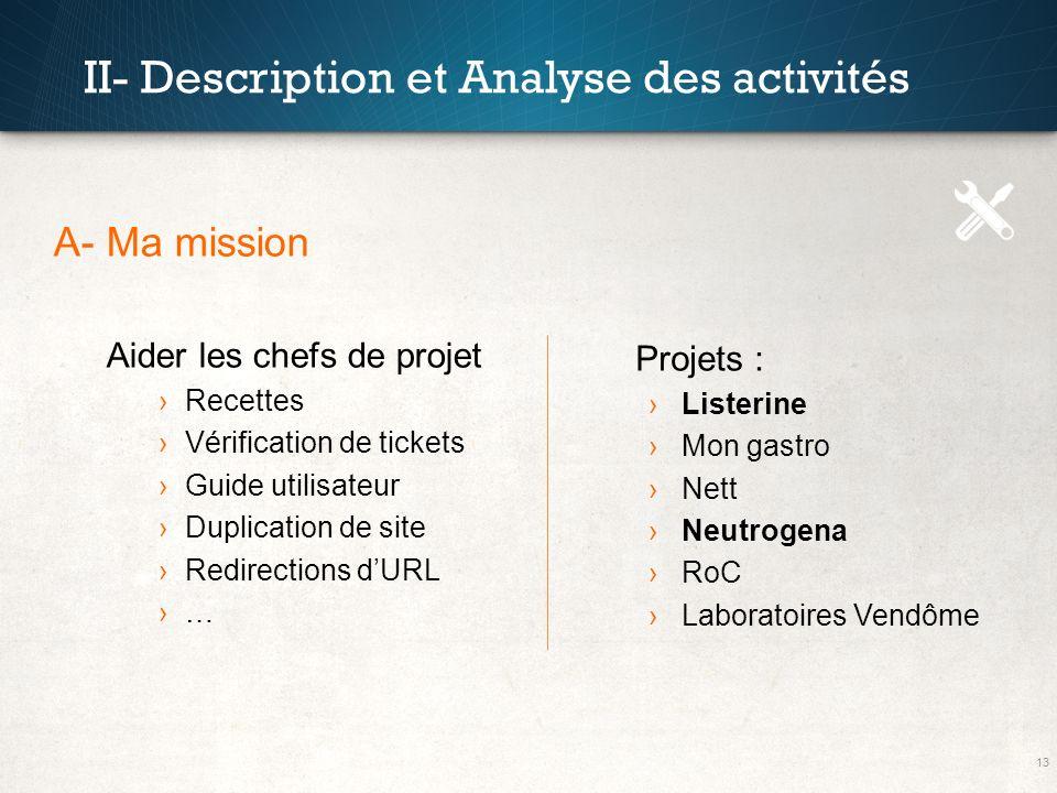 13 II- Description et Analyse des activités A- Ma mission Aider les chefs de projet Recettes Vérification de tickets Guide utilisateur Duplication de