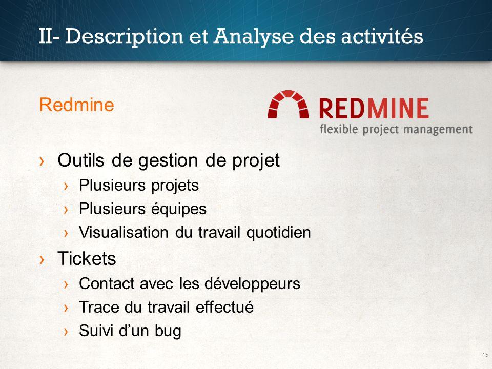 15 II- Description et Analyse des activités Redmine Outils de gestion de projet Plusieurs projets Plusieurs équipes Visualisation du travail quotidien