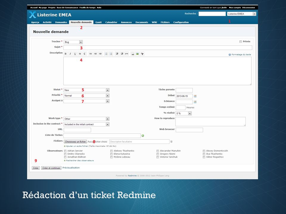 Rédaction dun ticket Redmine
