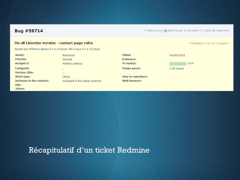 Récapitulatif dun ticket Redmine