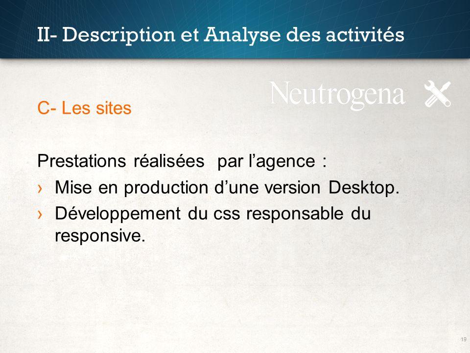 19 II- Description et Analyse des activités C- Les sites Prestations réalisées par lagence : Mise en production dune version Desktop. Développement du