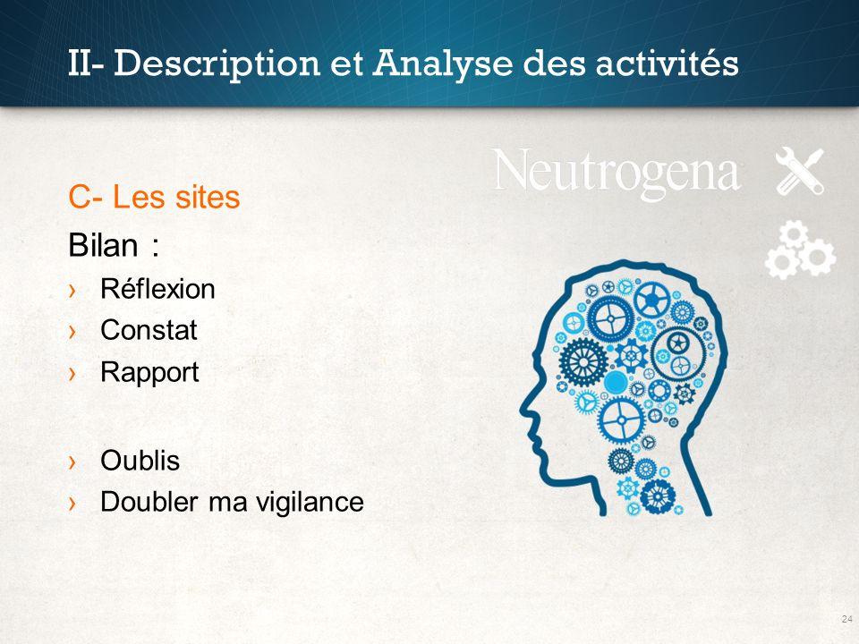 24 II- Description et Analyse des activités C- Les sites Bilan : Réflexion Constat Rapport Oublis Doubler ma vigilance