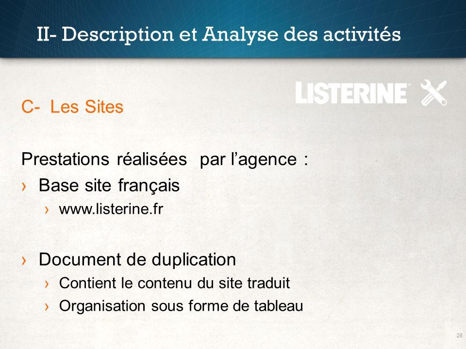 26 II- Description et Analyse des activités C- Les Sites Prestations réalisées par lagence : Base site français www.listerine.fr Document de duplicati