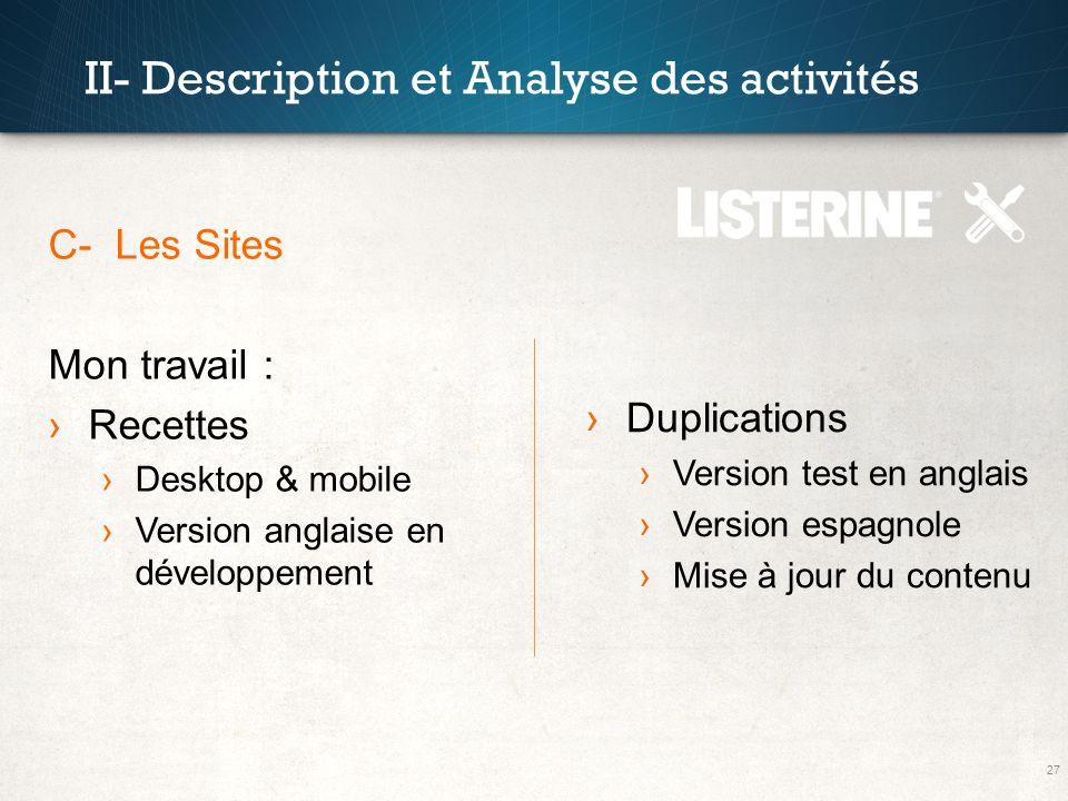 27 II- Description et Analyse des activités C- Les Sites Mon travail : Recettes Desktop & mobile Version anglaise en développement Duplications Versio