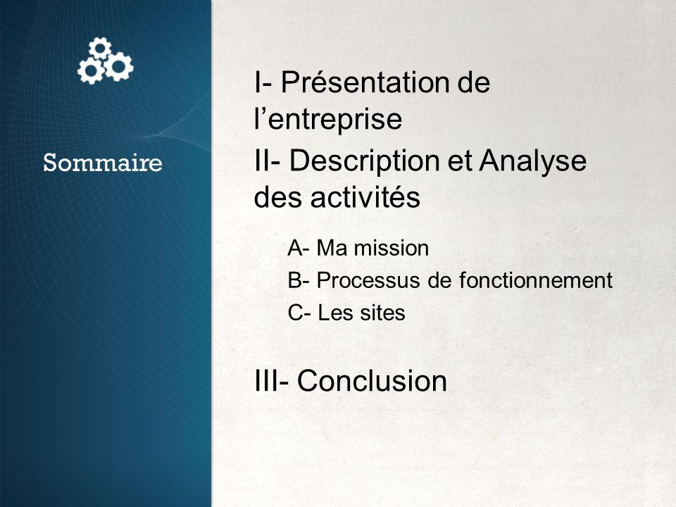 I- Présentation de lentreprise II- Description et Analyse des activités III- Conclusion Sommaire A- Ma mission B- Processus de fonctionnement C- Les s