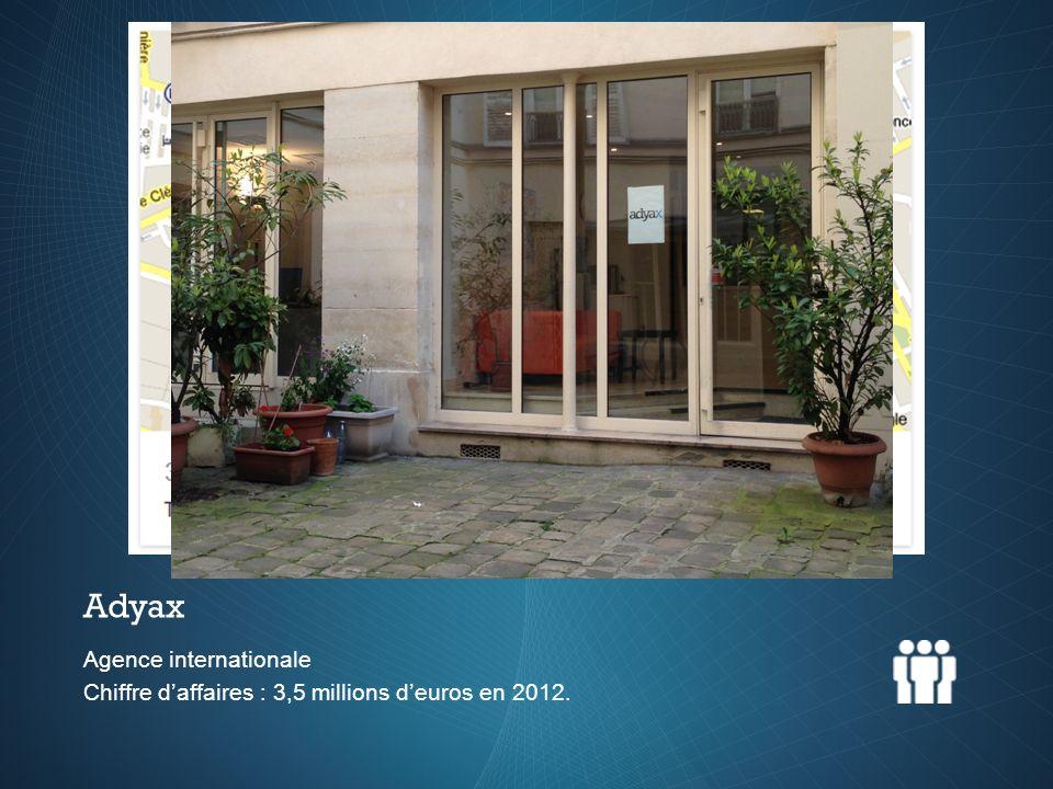 Agence internationale Chiffre daffaires : 3,5 millions deuros en 2012. Adyax