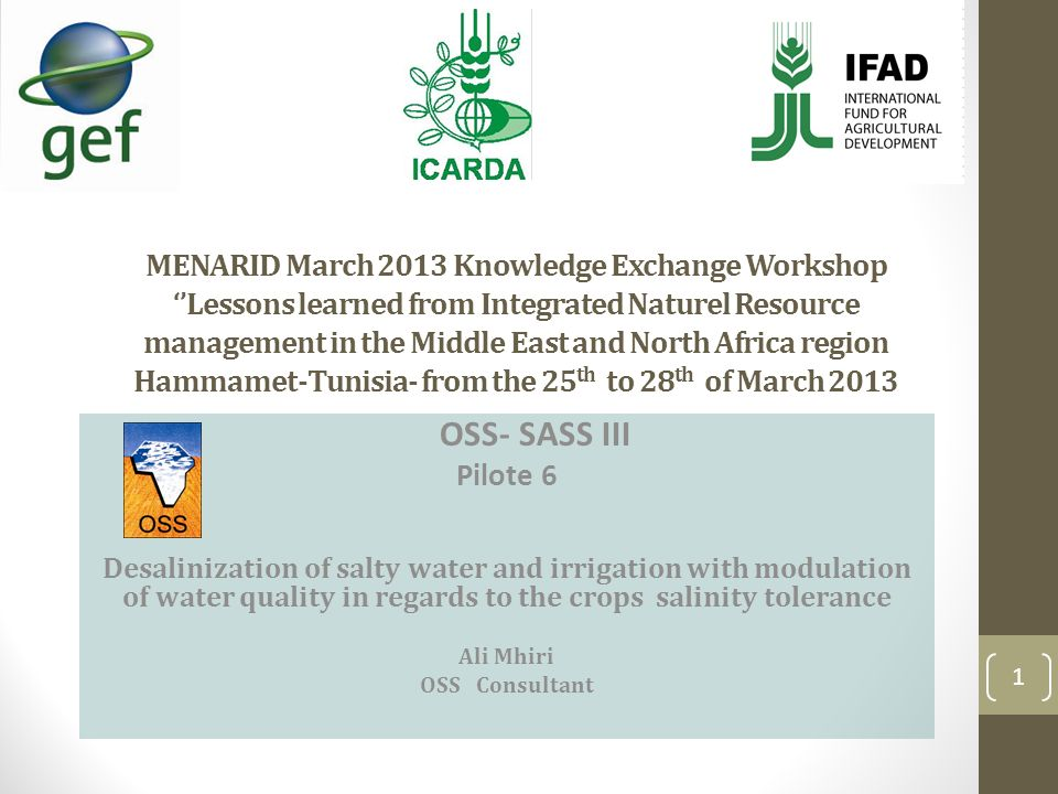 MENARID March 2013 Knowledge Exchange Workshop Lessons learned from Integrated Naturel Resource management in the Middle East and North Africa region