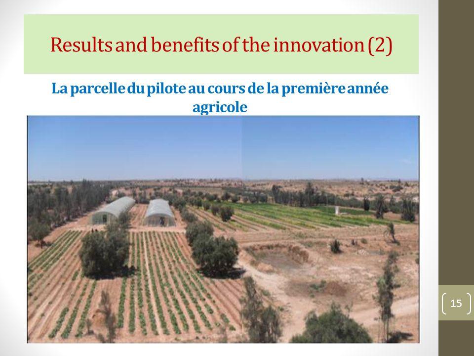 La parcelle du pilote au cours de la première année agricole 15 Results and benefits of the innovation (2)