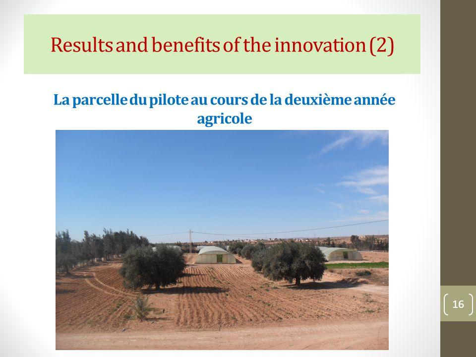 La parcelle du pilote au cours de la deuxième année agricole 16 Results and benefits of the innovation (2)