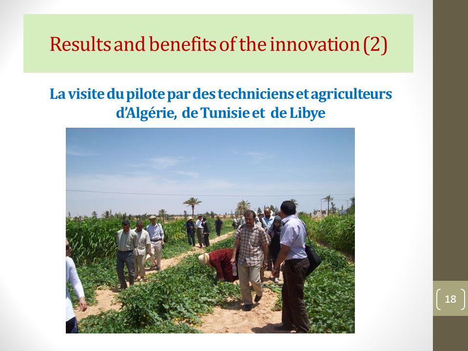 La visite du pilote par des techniciens et agriculteurs dAlgérie, de Tunisie et de Libye 18 Results and benefits of the innovation (2)