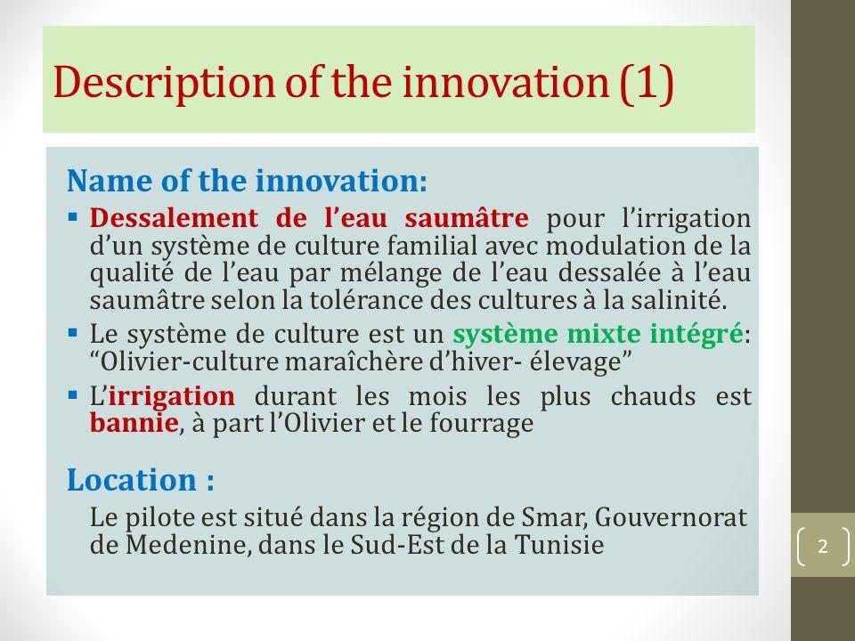 Description of the innovation (1) Name of the innovation: Dessalement de leau saumâtre pour lirrigation dun système de culture familial avec modulatio
