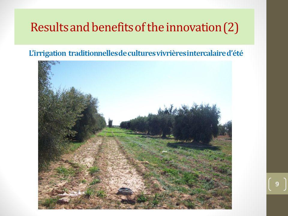 Lirrigation traditionnelles de cultures vivrières intercalaire dété 9 Results and benefits of the innovation (2)