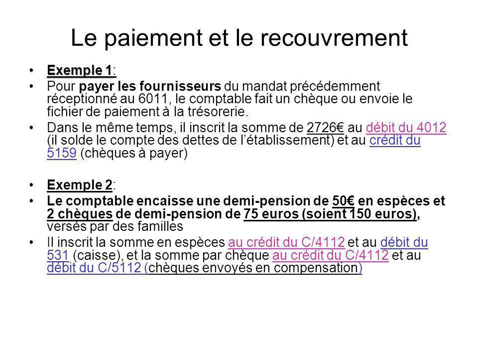 Le paiement et le recouvrement Exemple 1Exemple 1: Pour payer les fournisseurs du mandat précédemment réceptionné au 6011, le comptable fait un chèque