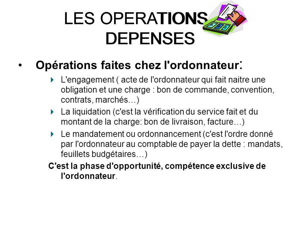 LES OPERATIONS DE DEPENSES Opérations faites chez l'ordonnateur : L'engagement ( acte de l'ordonnateur qui fait naitre une obligation et une charge :