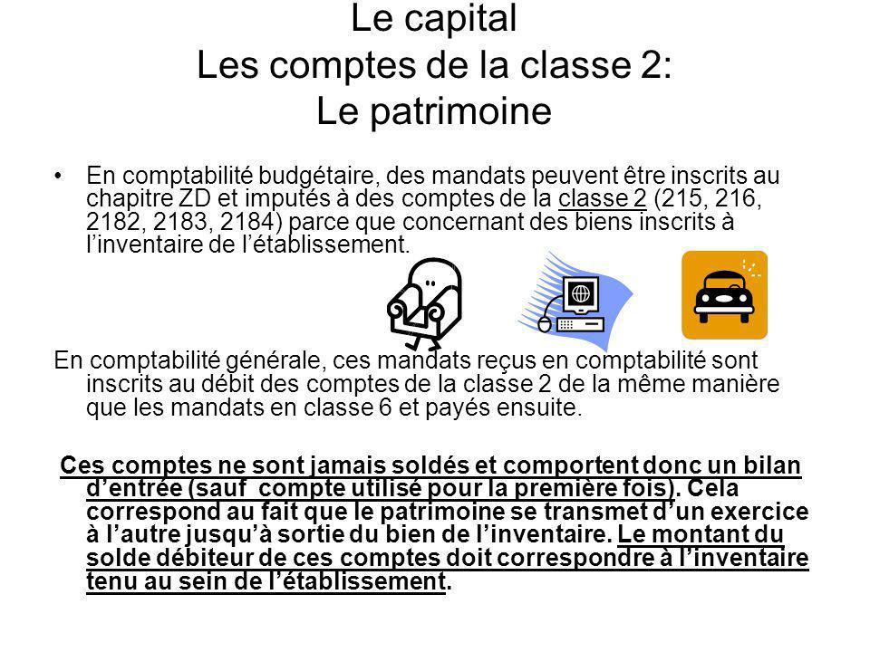 Le capital Les comptes de la classe 2: Le patrimoine En comptabilité budgétaire, des mandats peuvent être inscrits au chapitre ZD et imputés à des com