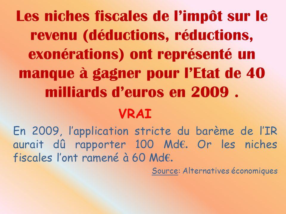 Les niches fiscales de limpôt sur le revenu (déductions, réductions, exonérations) ont représenté un manque à gagner pour lEtat de 40 milliards deuros en 2009.