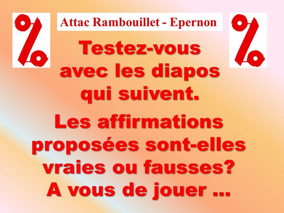 Attac Rambouillet - Epernon Testez-vous avec les diapos qui suivent. Les affirmations proposées sont-elles vraies ou fausses? A vous de jouer...