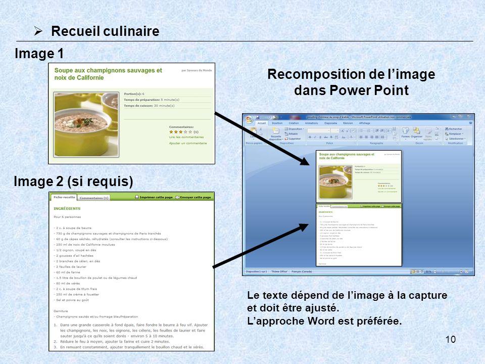 10 Recueil culinaire Image 1 Image 2 (si requis) Le texte dépend de limage à la capture et doit être ajusté. Lapproche Word est préférée. Recompositio