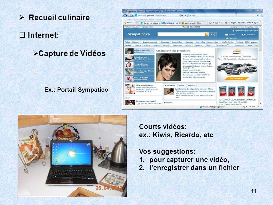 11 Recueil culinaire Internet: Capture de Vidéos Ex.: Portail Sympatico Courts vidéos: ex.: Kiwis, Ricardo, etc Vos suggestions: 1.pour capturer une vidéo, 2.lenregistrer dans un fichier