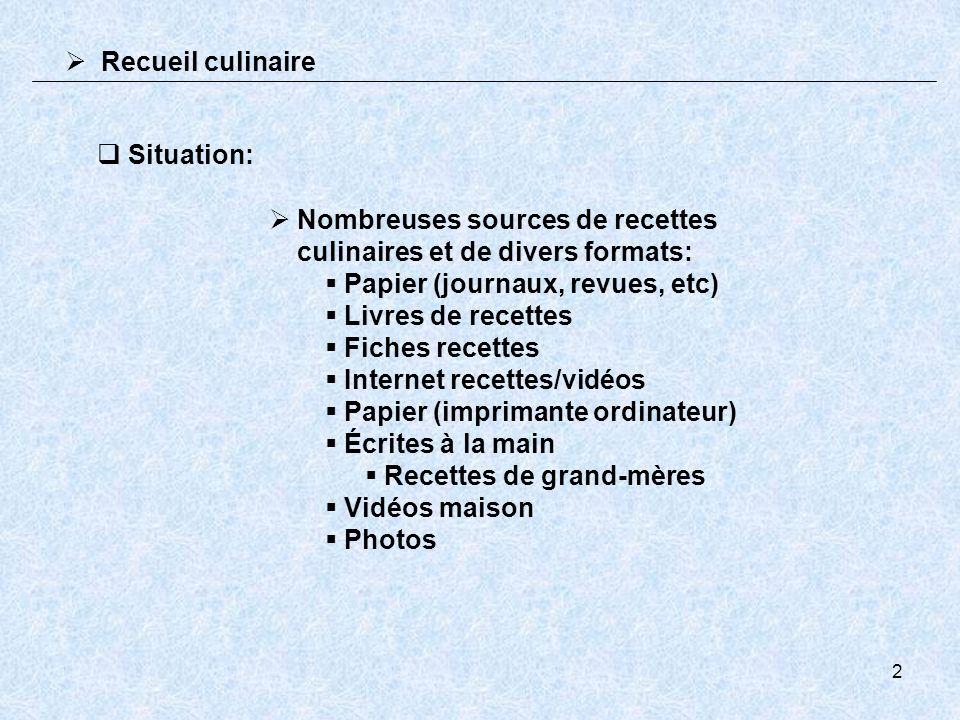 2 Situation: Nombreuses sources de recettes culinaires et de divers formats: Papier (journaux, revues, etc) Livres de recettes Fiches recettes Interne