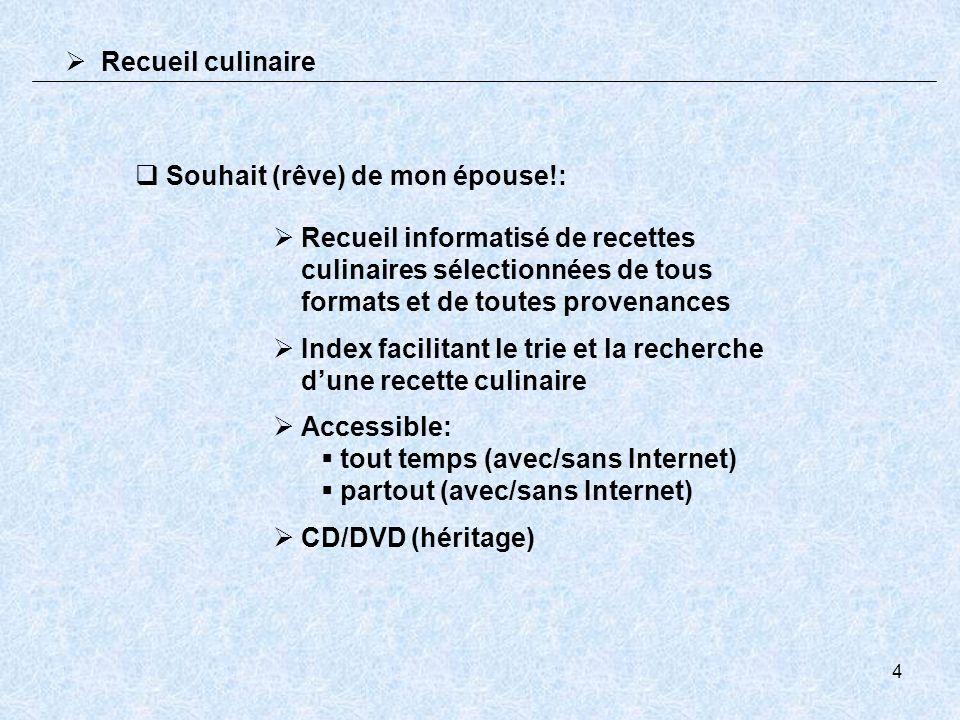 4 Souhait (rêve) de mon épouse!: Recueil informatisé de recettes culinaires sélectionnées de tous formats et de toutes provenances Index facilitant le