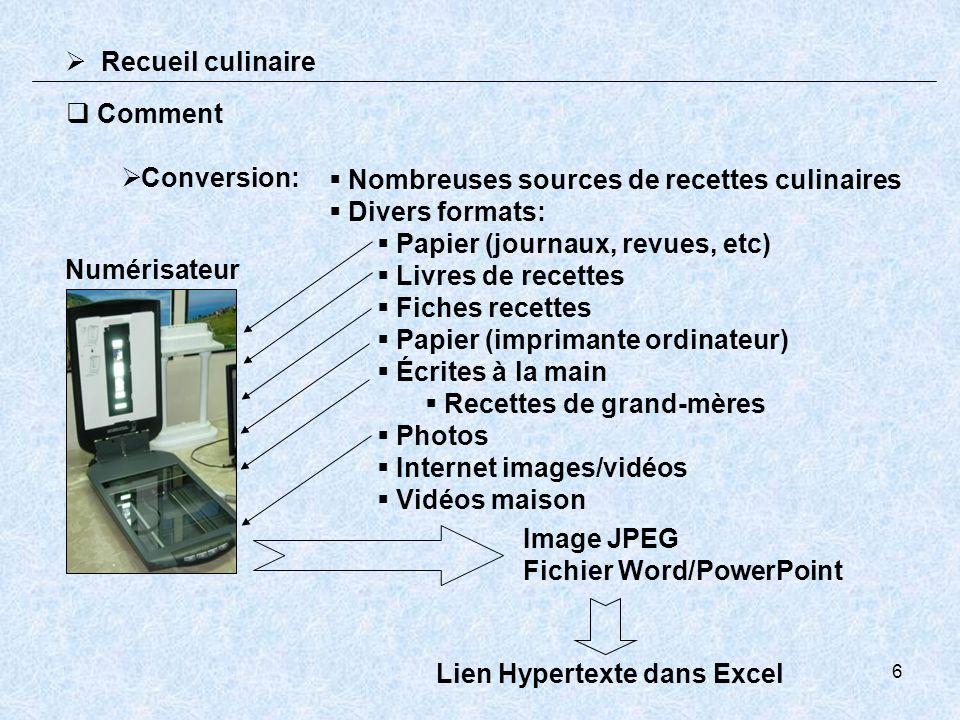 6 Conversion: Nombreuses sources de recettes culinaires Divers formats: Papier (journaux, revues, etc) Livres de recettes Fiches recettes Papier (impr