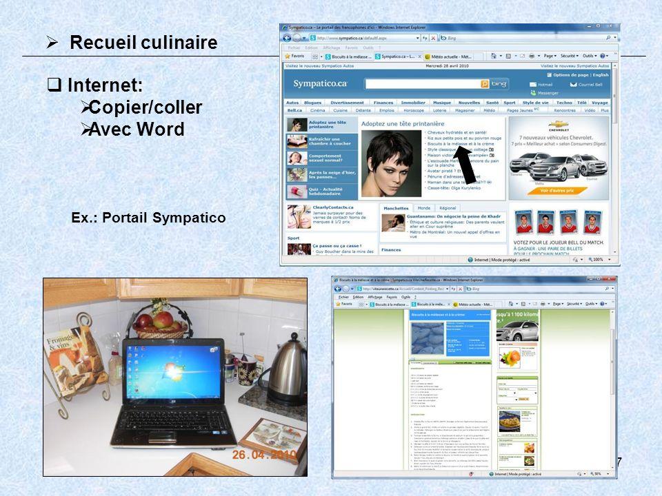 8 Recueil culinaire Image 1 – Copier/coller Image 2 (si requis) Recomposition de limage dans Word Le texte peut être ajusté