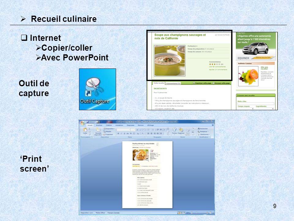 9 Recueil culinaire Internet Copier/coller Avec PowerPoint Outil de capture Print screen